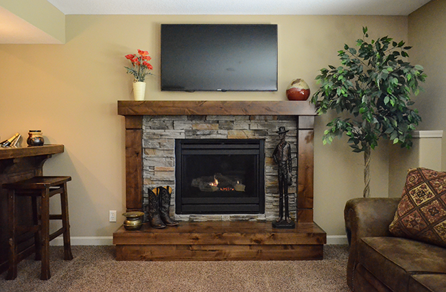 Craftsman Fireplace in Basement Finish