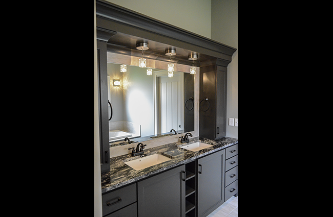Transitional Master Bath in New Custom Home